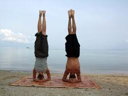 couple headstand